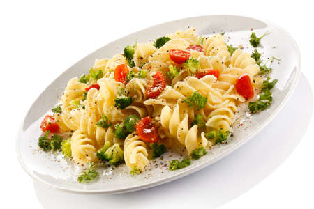 Pasta with parmesan and vegetables photo