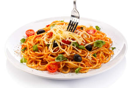 Goulash: Pasta with meat, tomato sauce, parmesan and vegetables