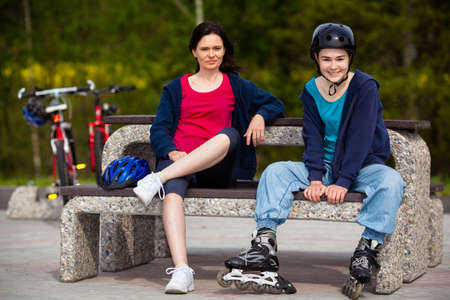rollerblading: Women resting after exercising