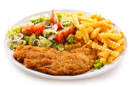Schweinekotelett, Französisch frites und Gemüse