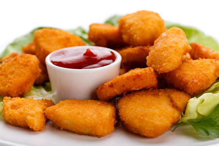 grill chicken: Chicken nuggets on white background