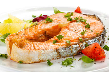 grilled fish: Grilled salmon and vegetables Stock Photo