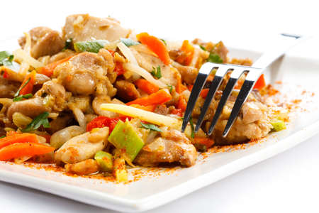 Asian food - chicken with vegetables photo