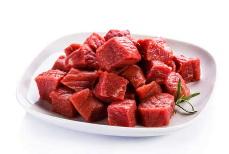 stew: Raw beef on white background