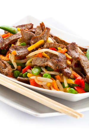 beef stew: Chinese food - roasted meat and vegetables