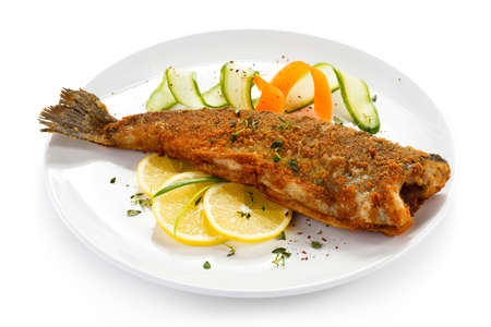 Fish dish - fried trout photo