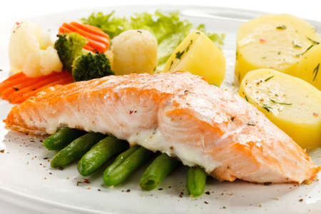 prepared fish: Grilled salmon and vegetables Stock Photo