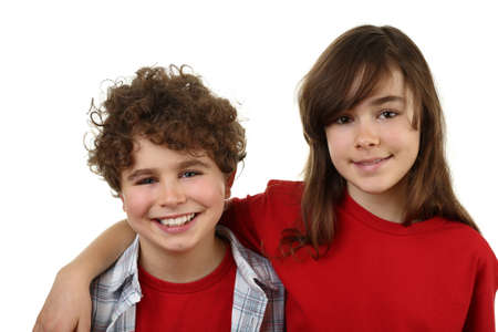 arms around: Boy and girl posing with arm around shoulder
