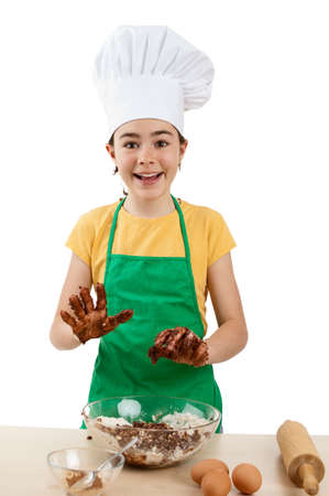 Girl baking in the kitchen photo