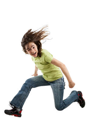hopping: A girl jumping up in the air Stock Photo