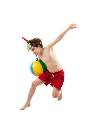 boy ball: Boy wearing snorkeling equipments while jumping