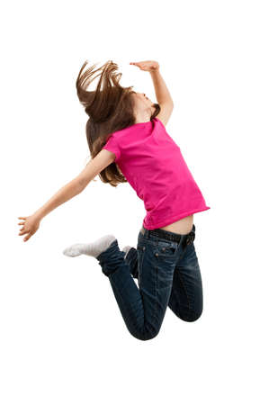 hopping: Girl jumping in the air Stock Photo