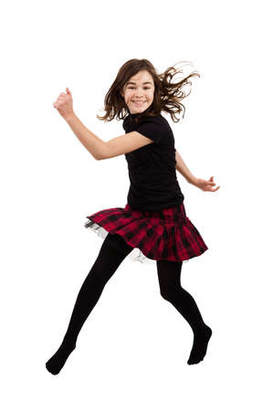 the girl in stockings: Girl jumping Stock Photo