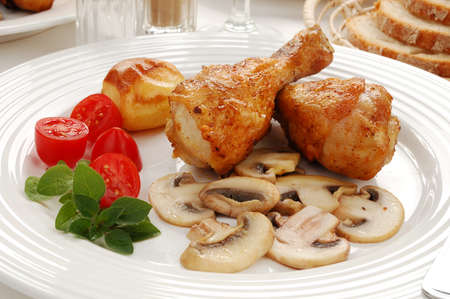Roast chicken dish photo