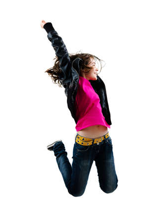 girl action: A young girl jumping