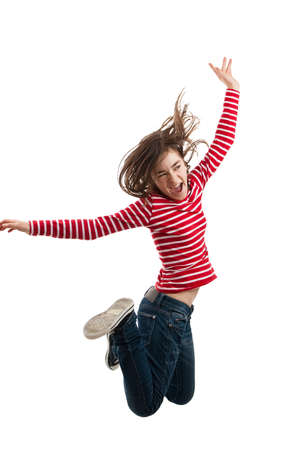 hopping: A young girl jumping