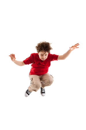 khakis: Boy jumping Stock Photo