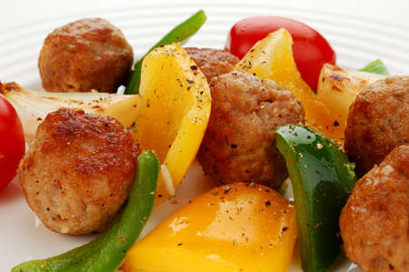 Meatballs and vegetables photo
