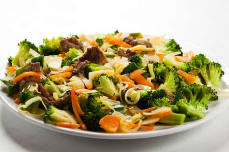 lowfat: Vegetables with meat in bowl