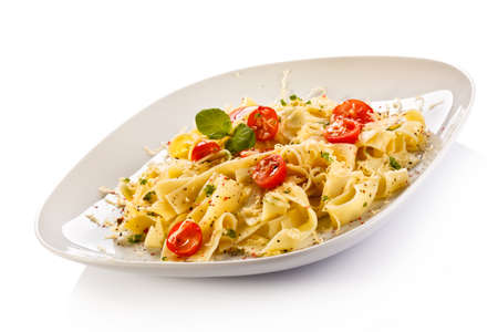 Pasta with cherry tomatoes Stock Photo