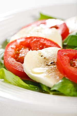 lowfat: Close-up of caprese salad on plate