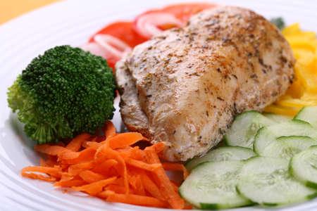 chicken fillet: Close-up of roasted chicken fillet with vegetables