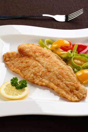 cooked fish: Fish fillet with vegetables Stock Photo