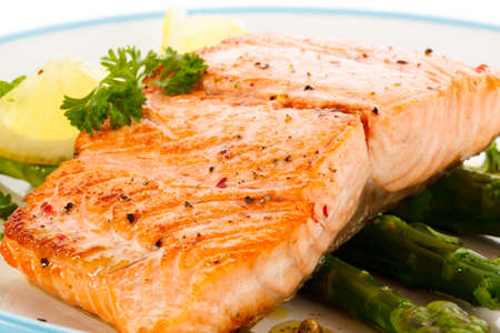 cooked fish: Grilled salmon and vegetables Stock Photo