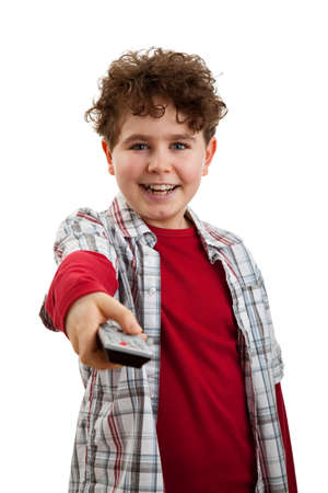 telly: Boy holding remote control isolated on white background