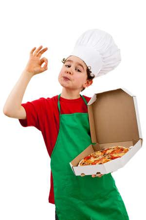 Boy holding pizza isolated on white background