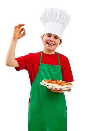 Boy holding pizza isolated on white background photo