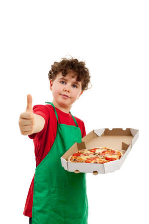 Boy holding pizza isolated on white background photo