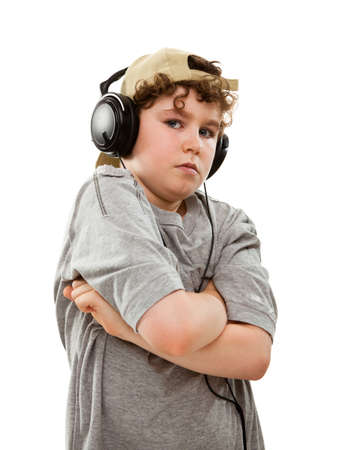 10 to 12 years: Close up of boy with headphones
