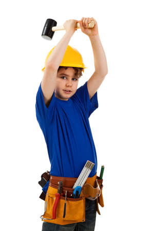 10 12 years: Boy as a construction worker  Stock Photo