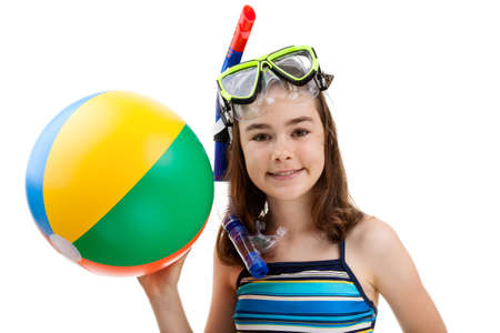 beach ball girl: Girl with snorkeling equipment and a ball on white background Stock Photo