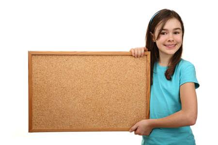 corkboard: Girl holding a corkboard