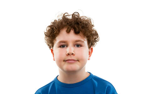 10 to 12 years: Close up of boy on white background