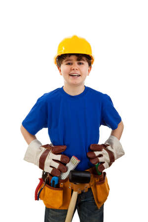 10 to 12 years old: Boy as a construction worker  Stock Photo