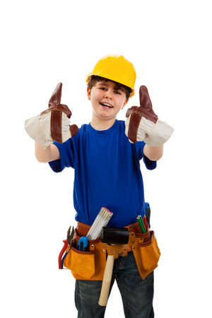 10 to 12 years: Boy as a construction worker  Stock Photo