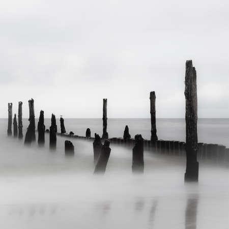 quiet scenery: Winter scenery in black and white Stock Photo