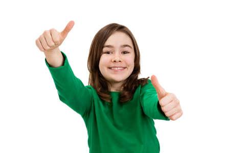 Girl showing OK sign isolated on white  photo