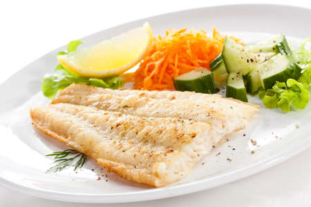 cod fish: Pan fried fish fillet with vegetables