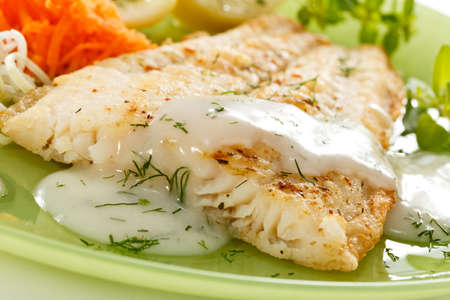 potato cod: Pan fried fish fillet with vegetables