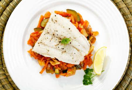 trucha: Pescado hervido y verduras mixtas