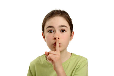 guardar silencio: Muchacha con el dedo en los labios