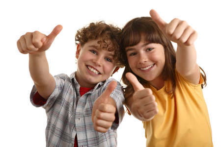 two thumbs up: Girl and boy posing and gesturing
