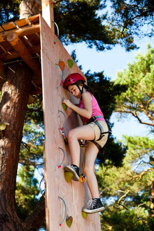 obstacle course: Girl doing an obstacle course