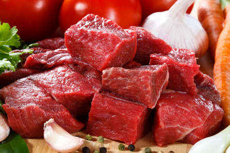 beef meat: Raw beef on cutting board