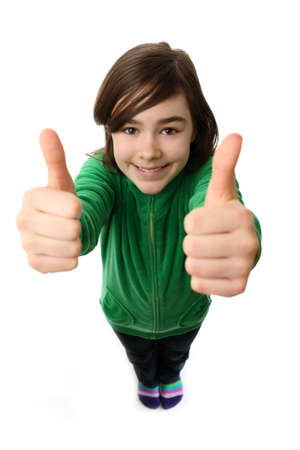 10s: Girl giving thumbs up