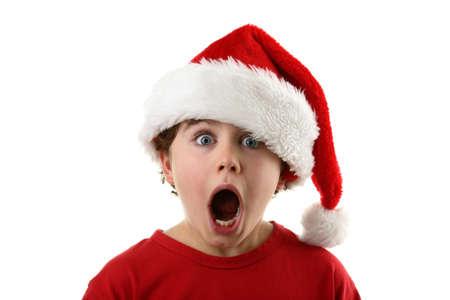 wow: Boy wearing a santa hat Stock Photo